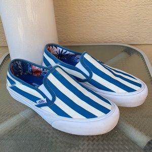 Blue & white striped Vans